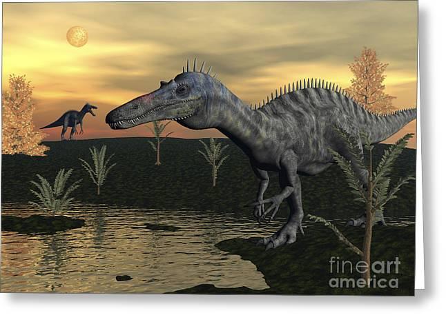 Stream Digital Art Greeting Cards - Suchomimus Dinosaurs Walking Next Greeting Card by Elena Duvernay