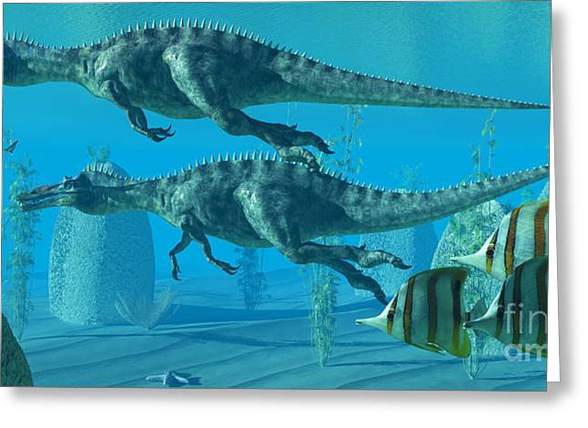 Shark Fossil Greeting Cards - Suchomimus Dive Greeting Card by Corey Ford