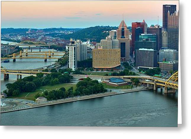 Incline Greeting Cards - Pink Over The Pittsburgh Skyline Greeting Card by Adam Jewell