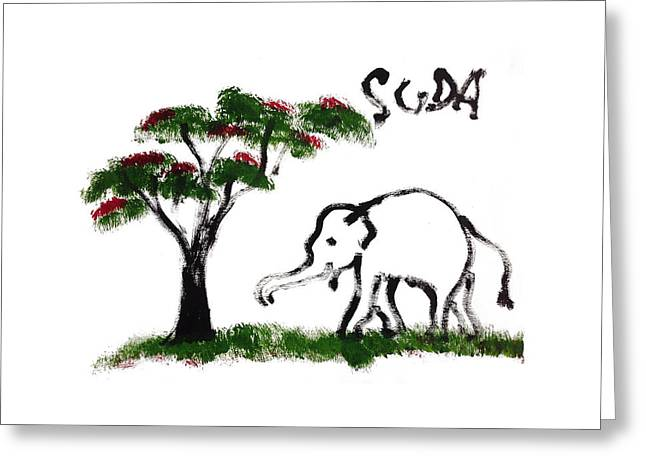 Next To Tree Greeting Cards - Prints - Elephant Paintings - Just Me Greeting Card by Phongsri Smeaton