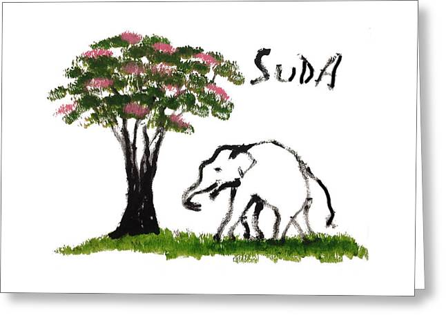 Next To Tree Greeting Cards - Print - Elephant Paintings - Just Me Pink Version Greeting Card by Phongsri Smeaton