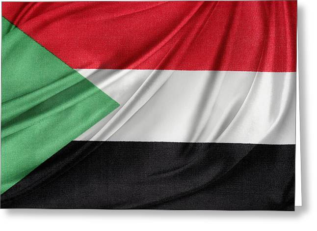 Sudanese Flag Greeting Card by Les Cunliffe