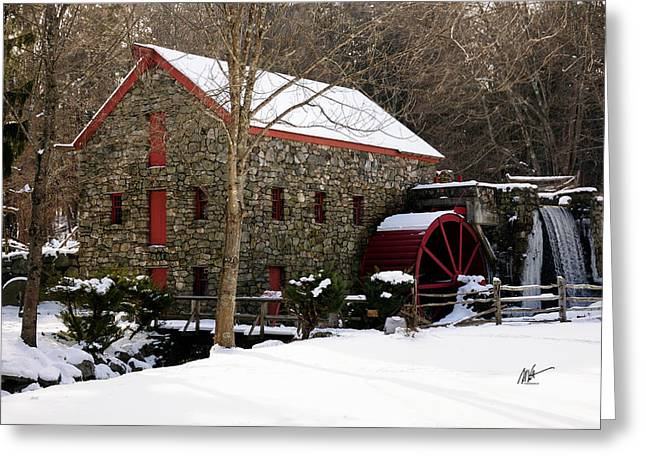 Sudbury River. Greeting Cards - Sudbury Grist Mill in Winter Greeting Card by Mark Valentine
