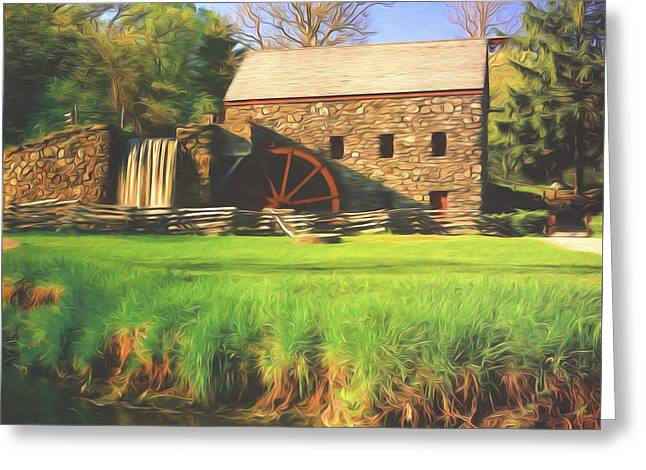 Sudbury River. Greeting Cards - Sudbury Grist Mill Greeting Card by Steve Bailey