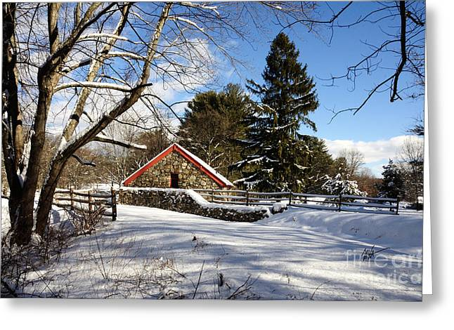 Sudbury River. Greeting Cards - Sudbury - Grist Mill Winter Greeting Card by Mark Valentine