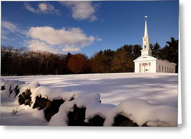 Martha Mary Chapel Greeting Cards - Sudbury Martha-Mary Chapel Winter Covering Greeting Card by Mark Valentine