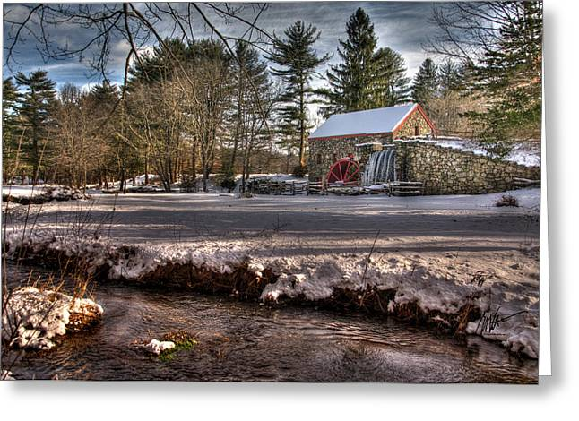 Sudbury River. Greeting Cards - Sudbury Winter Grist Mill and River Greeting Card by Mark Valentine
