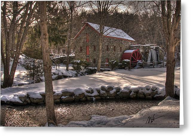 Sudbury River. Greeting Cards - Sudbury Winter Grist Mill Greeting Card by Mark Valentine