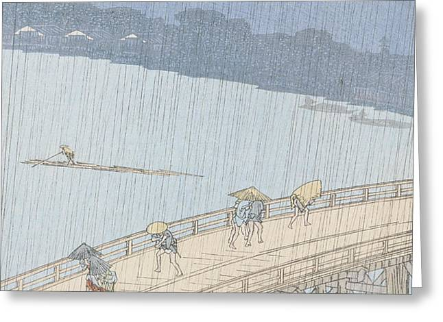 Sudden Shower on Ohashi Bridge at Ataka Greeting Card by Ando Hiroshige