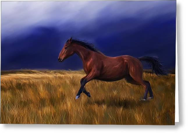 Storm Framed Prints Digital Art Greeting Cards - Galloping Horse Painting Greeting Card by Michelle Wrighton