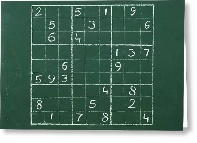 Crazing Greeting Cards - Sudoku on a Chalkboard Greeting Card by Chevy Fleet