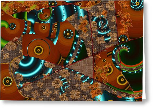 Jewelry Tapestries - Textiles Greeting Cards - Suede Twirl Greeting Card by Claire Masters