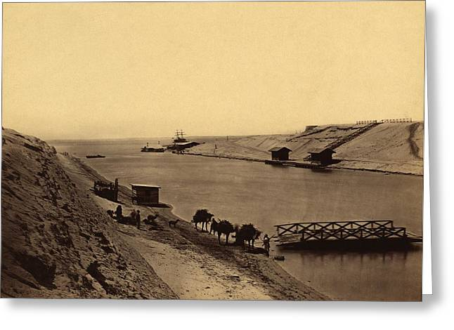 Ferryman Greeting Cards - Suez Canal, Egypt, 19th century Greeting Card by Science Photo Library