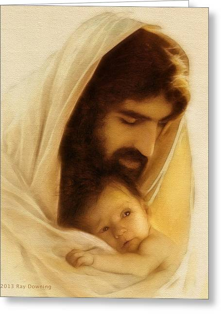 Jesus Christ Images Digital Art Greeting Cards - Suffer the Little Children Greeting Card by Ray Downing