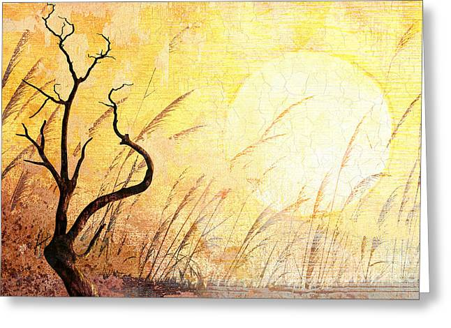 Bare Trees Mixed Media Greeting Cards - Suffering Greeting Card by Bedros Awak