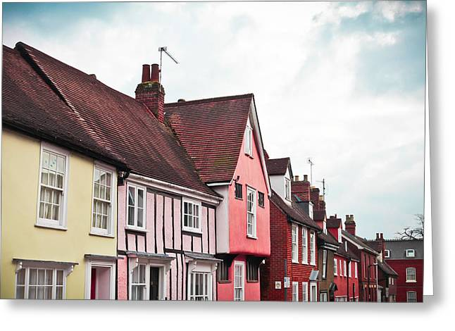 Red-roofed Buildings Greeting Cards - Suffolk houses Greeting Card by Tom Gowanlock