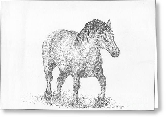 Livestock Drawings Greeting Cards - Suffolk Punch Draft Horse Greeting Card by J E Vincent