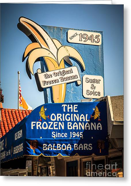 Balboa Island Greeting Cards - Sugar and Spice Frozen Banana Sign on Balboa Island Greeting Card by Paul Velgos