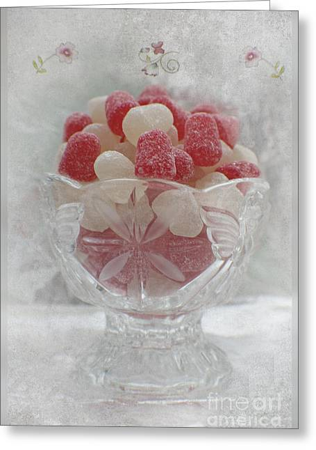 Spice Mixed Media Greeting Cards - Sugar and Spice Love Red and White Greeting Card by Ella Kaye Dickey