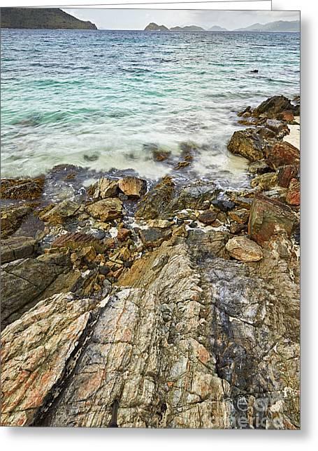 Virgin Pyrography Greeting Cards - Sugar bay from the rocks  Greeting Card by Eyzen M Kim