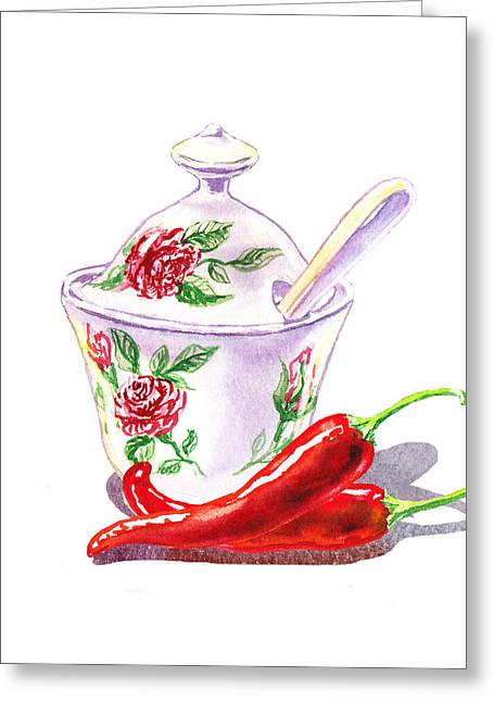 Purchase Greeting Cards - Sugar Bowl And Chili Peppers Greeting Card by Irina Sztukowski
