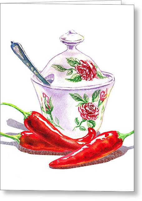 Purchase Greeting Cards - Sugar Bowl With Chili Peppers Greeting Card by Irina Sztukowski