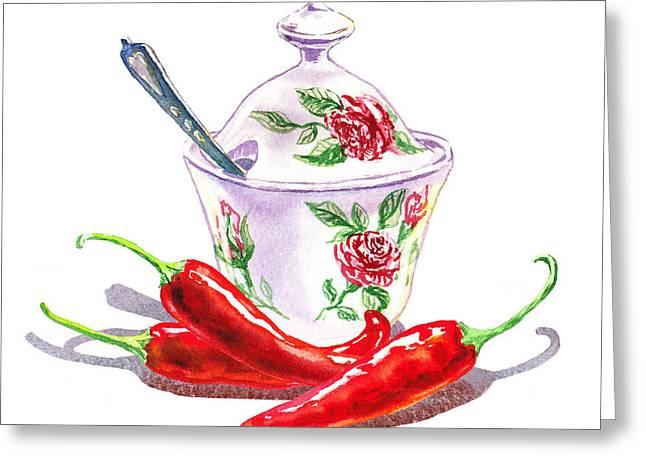Sugar Bowl With Chili Peppers Greeting Card by Irina Sztukowski