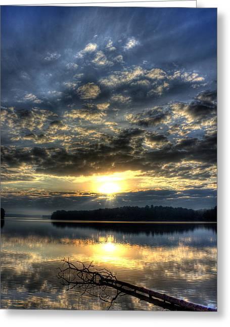 Hydroelectric Greeting Cards - Sunrise Reflections Sugar Creek Sunrise on Lake Oconee Greeting Card by Reid Callaway