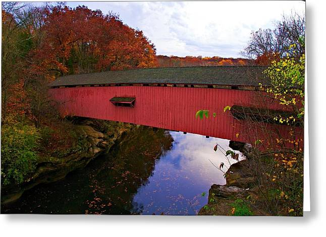 Indiana Autumn Greeting Cards - Sugar Creek Autumn Greeting Card by Norm Hoekstra