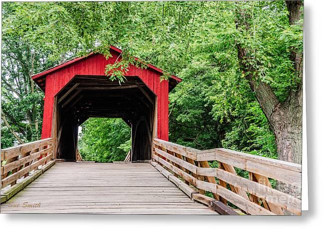 Sue Smith Greeting Cards - Sugar Creek Covered Bridge Greeting Card by Sue Smith