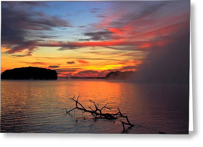 Morgan County Greeting Cards - Sugar Creek Sunrise as the Fog Rolls In Greeting Card by Reid Callaway