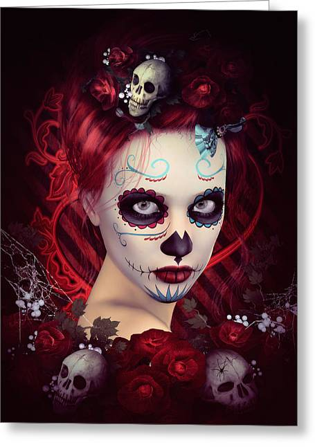 Mexican Flowers Greeting Cards - Sugar Doll Red Greeting Card by Shanina Conway