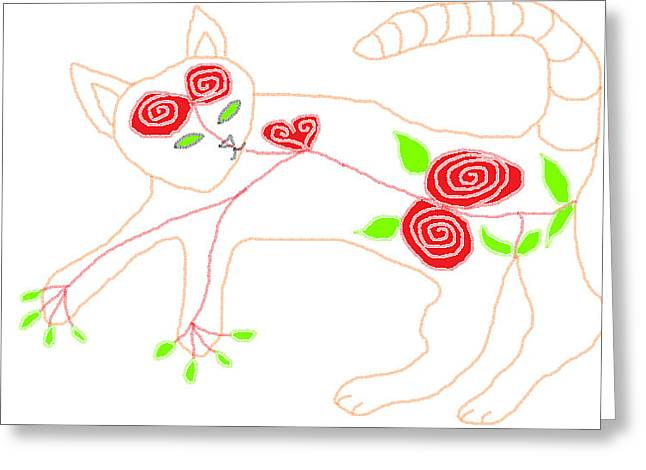 Floral Digital Drawings Greeting Cards - Sugar for Theo Greeting Card by Anita Dale Livaditis