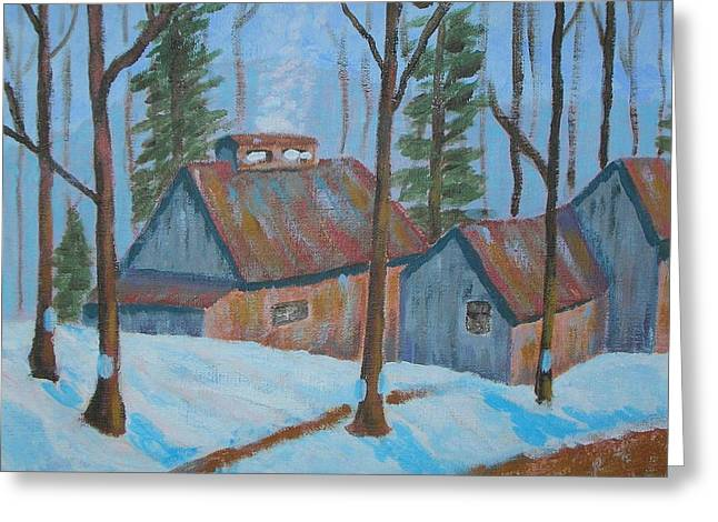 Chimney With Smoke Greeting Cards - Sugar Shack Greeting Card by Anthony D