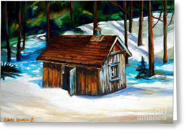 Recently Sold -  - Shack Greeting Cards - Sugar Shack Quebec Landscape Greeting Card by Carole Spandau