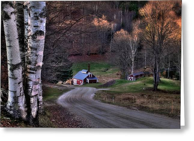 New England Village Scene Greeting Cards - Sugar Shack - Reading Vermont Greeting Card by Thomas Schoeller