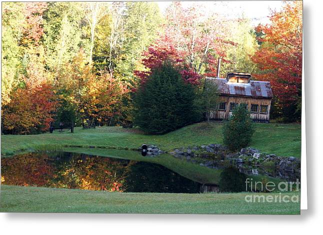 Newengland Greeting Cards - Sugar Shack Reflection Greeting Card by Kerri Mortenson