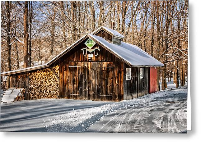 New England Snow Scene Greeting Cards - Sugar Shack - Southbury Connecticut Greeting Card by Thomas Schoeller