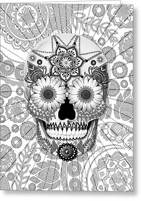 Mexican Flowers Greeting Cards - Sugar Skull Bleached Bones - Copyrighted Greeting Card by Christopher Beikmann
