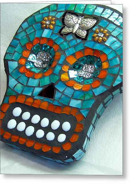 Sugar Skull Glass Art Greeting Cards - Sugar Skull Greeting Card by Jenny Bowman