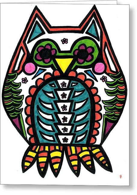 Colors Of Autumn Drawings Greeting Cards - Sugar Skull Owl Greeting Card by Catherine Peters