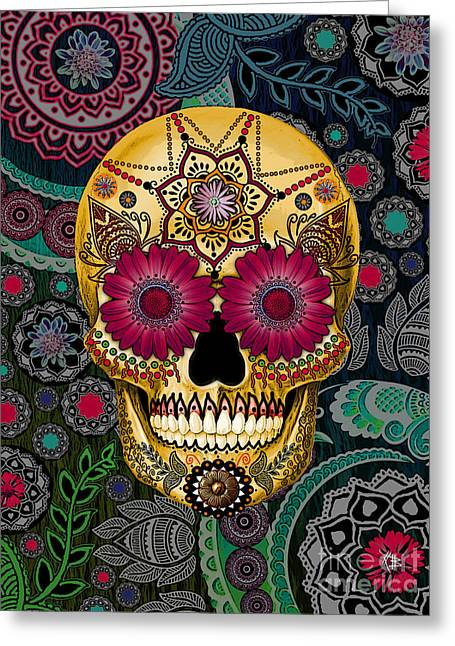 Muertos Greeting Cards - Sugar Skull Paisley Garden - Copyrighted Greeting Card by Christopher Beikmann