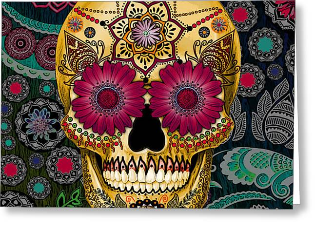 Sugar Skull Paisley Garden - Copyrighted Greeting Card by Christopher Beikmann