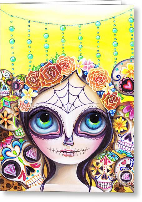 Sugar Skull Princess Greeting Card by Jaz Higgins