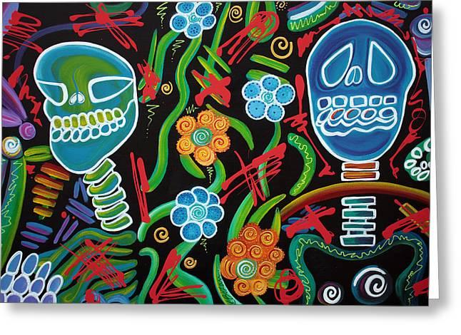 Blacklight Greeting Cards - Sugar Skull Spirits 2 Greeting Card by Laura Barbosa