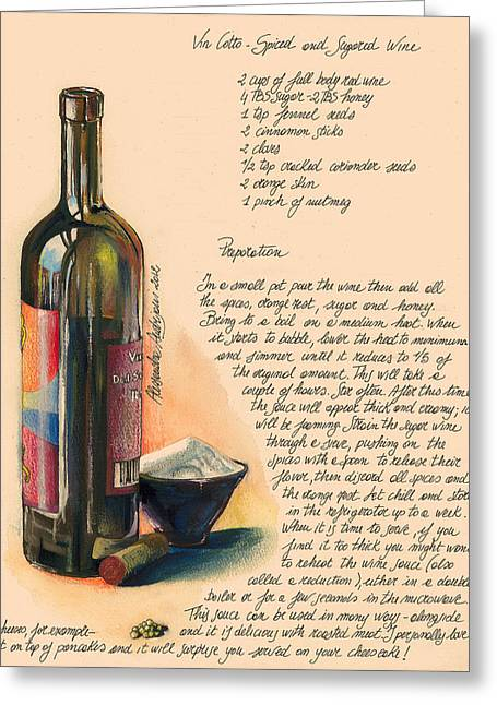 Painted Recipes Greeting Cards - Sugared Wine Greeting Card by Alessandra Andrisani