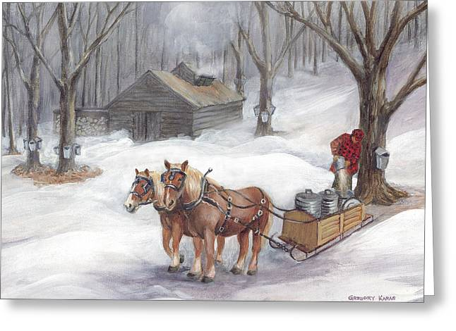 Best Sellers -  - New England Snow Scene Greeting Cards - Sugaring Time Again Greeting Card by Gregory Karas