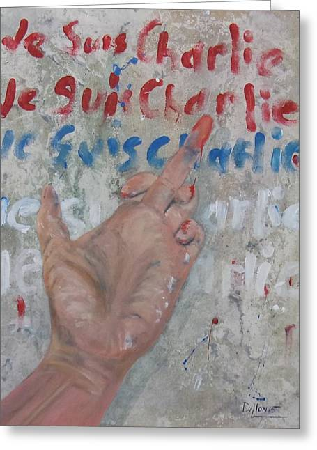Je Suis Charlie Finger Painting To Al Qaeda Greeting Card by Michael Dillon