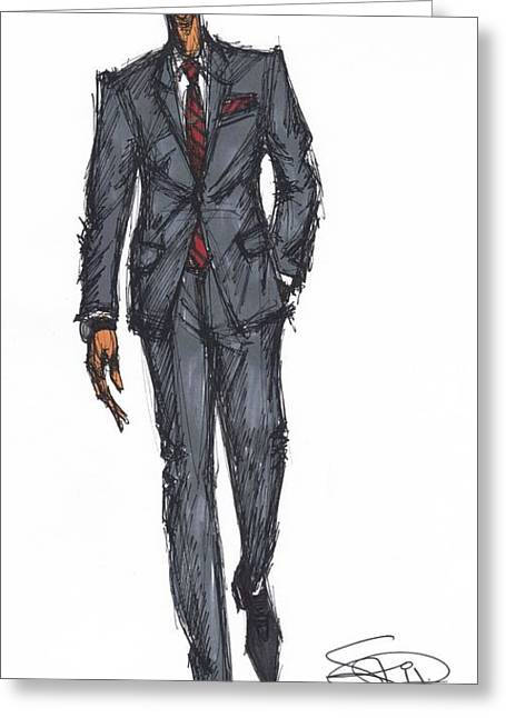 Menswear Greeting Cards - Suit 1 Greeting Card by SKIP Smith