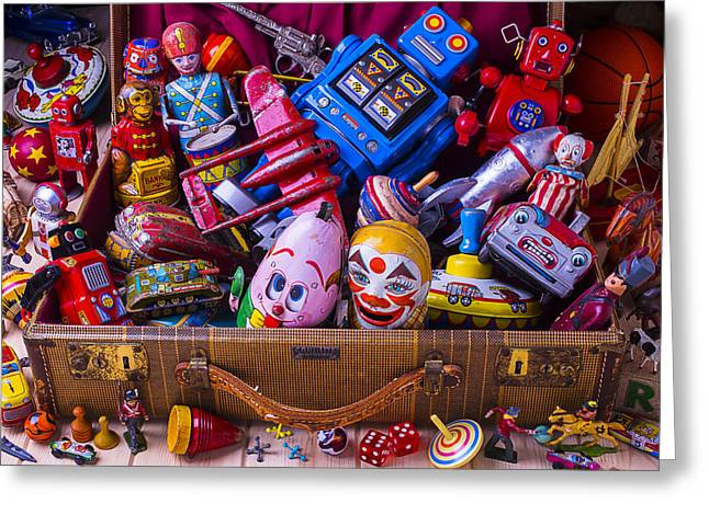 Tin Planes Greeting Cards - Suitcase Full Of Old Toys Greeting Card by Garry Gay
